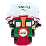 Black Bears in Train<br>Personalized Couples Ornament
