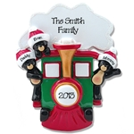 Black Bears in Train<br>Personalized Family Ornament of 3
