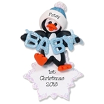 Petey Penguin  Baby's 1st Christmas Ornament for Boy - Custom Ornaments