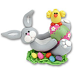 Gray Belly Bunny on Back Easter Figurine