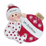 Baby with Ornament Personalized 1st Christmas Ornament