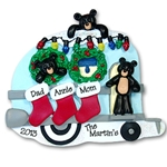Black Bear Family of 3 Camping / Camper Personalized Family Ornament