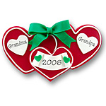 Red Triple Heart Couples or Twins Personalized Ornament