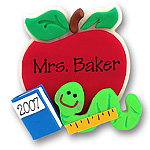 Apple w/Bookworm<br>Personalized Ornament/Teachers Gift