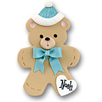 Bear w/Blue Hat &amp; Bow<br>Personalized Baby Ornament
