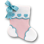 Pink Baby Stocking Personalized Baby's 1st Christmas Ornament
