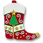 Red Cowboy Boot Personalized Ornament