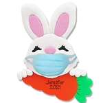 Covid-19 Bunny w/Carrot and Face Mask Personalized Easter Ornament