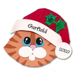 Orange Tabby Cat Face w/White Muzzle Personalized Cat Ornament - Limited Edition