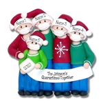 Covid-19 / Corona Virus / Pandemic Family of 5 Ornament Personalized HANDMADE POLYMER CLAY Ornament