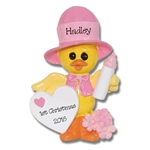 Girl Baby Chick Baby's 1st Christmas Personalized Ornament RESIN