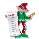 Winston Personalized Elf with List Ornament