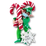 Wheez  the Covid-19 Elf w/ Candy Canes Personalized Elf Ornament