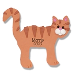 Orange Tabby Cat Flat Cat w/White Muzzle Personalized Cat Ornament - Limited Edition