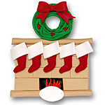 Fireplace w/5 Stockings<br>Personalized Family Ornament
