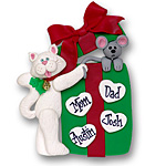 Cat w/Gift Box &amp; 4 Hearts<br>Personalized Family Ornament
