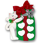 Cat w/Gift Box & 5 Hearts