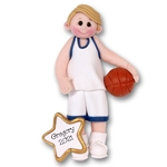 Boy Basketball Player-Male Handmade Polymer Clay Ornament  in Custom Gift Box - BLONDE