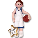 Boy Basketball Player-Male Handmade Polymer Clay Ornament  in Custom Gift Box