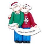 Covid-19 Corona Virus Couple HANDMADE  Personalized Christmas Ornament Custom Gift Box