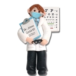 BLONDE HAIR Covid 19 Male Optometrist Eye Doctor Pandemic Quarantine Coronavirus Personalized Christmas Ornament - Handmade Polymer Clay