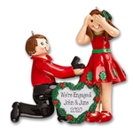 Proposal / Engagement Couple Personalized Christmas Ornament- Engaged