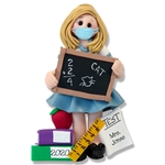 Covid-19 Female TEACHER with Face Mask Corona Virus Pandemic Personalized Christmas Ornament Handmade Polymer Clay