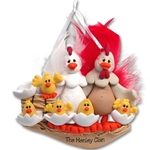 Half Baked Hen Family of 7 Family Ornament - Limited Edition