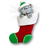 Grey Cat in Small Stocking<br>Personalized Cat Ornament