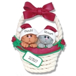 2 Kitty Cats in Basket Personalized Pet Ornament - Limited Edition