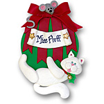 White Cat on Ornament<br>Personalized Cat Ornament