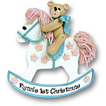 Rocking Horse w/Bear<br>Personalized Ornament