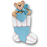 Large Bear in Blue Stocking<br>Personalized Ornament