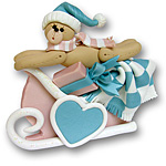Bear in Pink Sled<br>Personalized<br>Baby Ornament