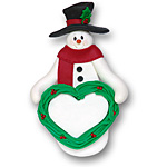 Snowman w/Heart<br>Personalized Ornament