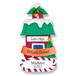 "Covid-19 ""School Closed"" School House Personalized Ornament Teacher's Gift"