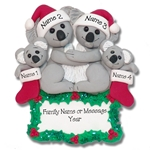 Koala Bear Family of 4 Personalized Christmas Ornament - Limited Edition