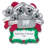 Koala Bear Family of 5 Personalized Christmas Ornament - Limited Edition
