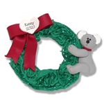 Christmas Koala Bear on Wreath Personalized Christmas Ornament Limited Edition