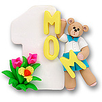 #1 Mom w/Belly Bear Boy<br>Personalized Ornament