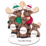Mortimer Moose Family of 5 Personalized Ornament Limited Edition