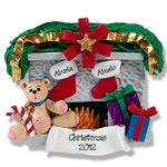 Fireplace w/Bear & 2 Stockings<br>Personalized Family Ornament