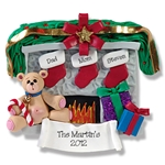 Fireplace w/Bear & 3 Stockings<br>Personalized Family Ornament