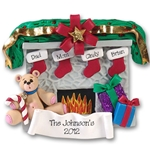 Fireplace w/Bear & 4 Stockings<br>Personalized Family Ornament