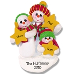 Snowman Family of 3 w/Stars Personalized Family Ornament - Limited Edition