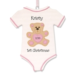 Onesie for Girl Baby's 1st Christmas Ornament  - Limited Edition