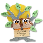 Owl Family of 10<br>Family Grandparents Ornament