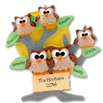 Owl Family of 5<br>Personalized Family Ornament