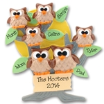 Owl Family of 6<br>Personalized Family Ornament of 6