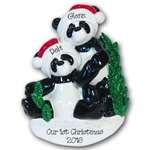 Panda Bear Family of 2<br>RESIN Personalized Couples Ornament